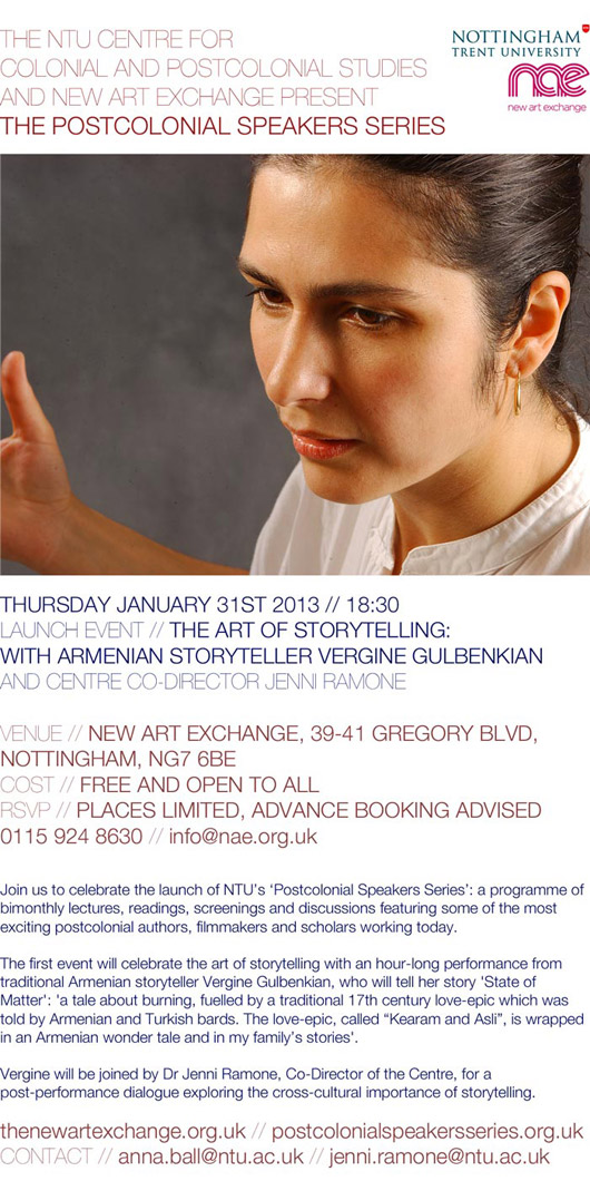 The Art of Storytelling: with Armenian Storyteller Vergine Gulbenkian and Centre Co-Director Jenni Ramone